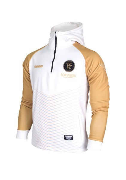 WARM-UP HOODY HALF ZIP TOP (WHITE/GOLD)