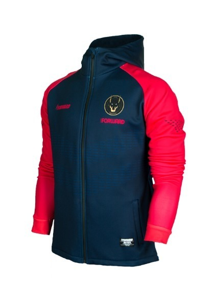 WARM-UP HOODY FULL ZIP TOP (NAVY/PEACH)